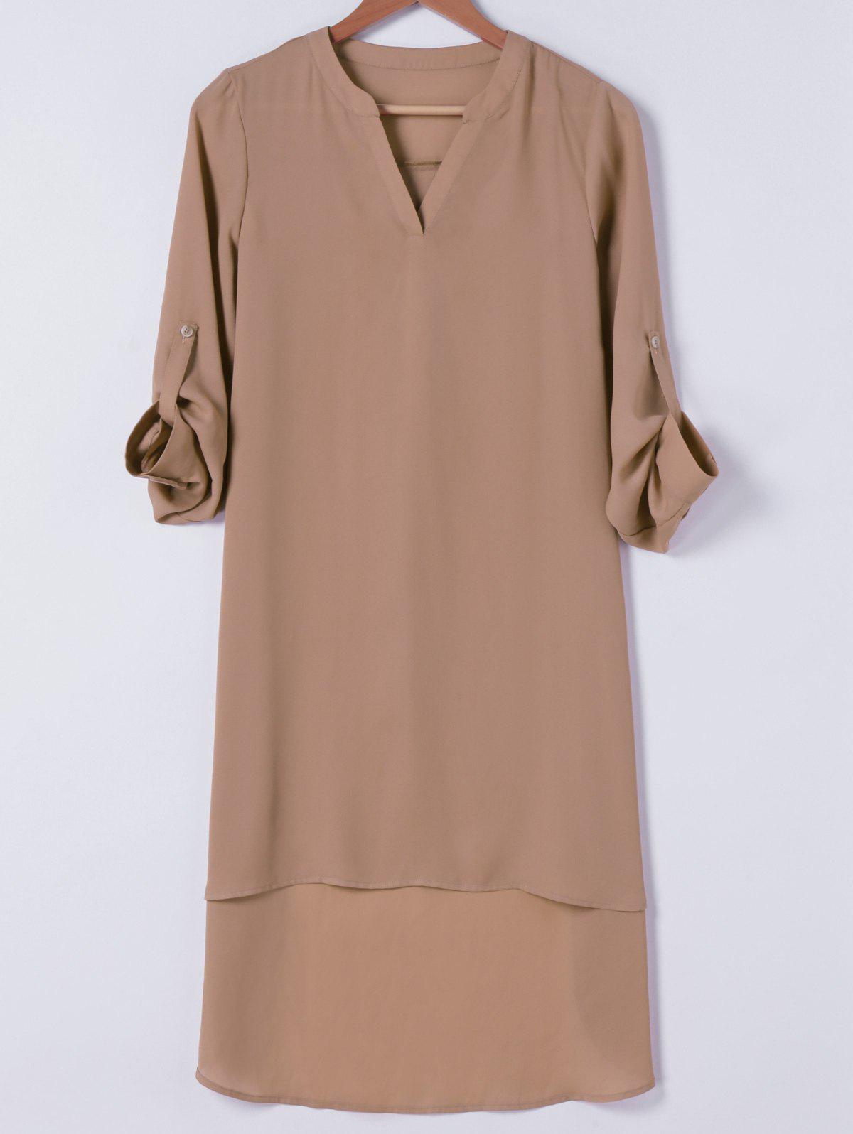 Casual Adjustable Sleeve Chiffon Shift Dress - CAMEL XL