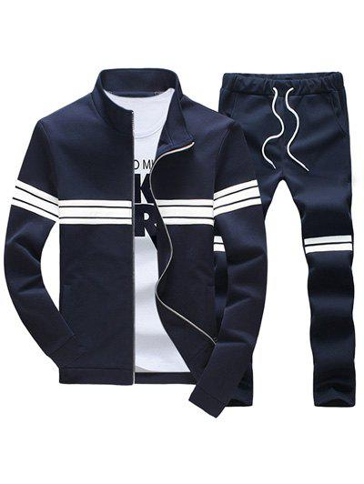 Plus Size Stand Collar Long Sleeve Stripe Zip-Up Men's Suit ( Sweatshirt + Pants ) 190374803