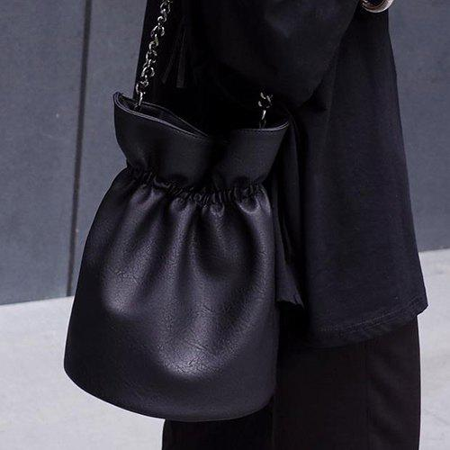 Fashionable Black and Chain Design Women's Shoulder Bag - BLACK