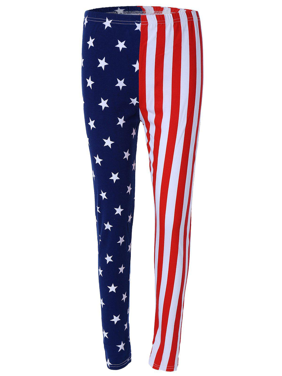 Flag Printed Hit Color Leggings - COLORMIX ONE SIZE