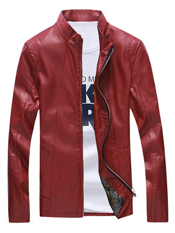 Zipper Sleeve Seamed Stand Collar Men's Faux Leather Jacket faux twinset stand collar double zipper pu leather jacket