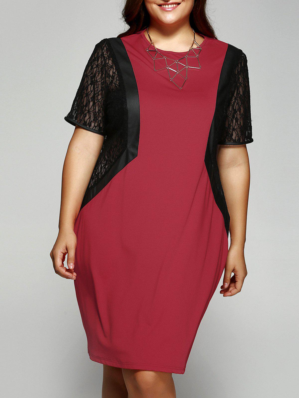 Oversized Short Sleeves Lace Splicing Skinny Dress - RED/BLACK 2XL