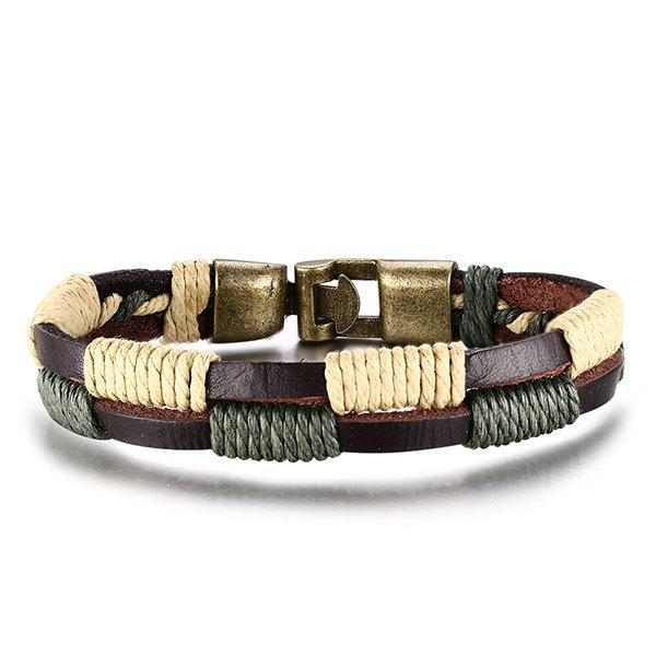 Vintage Faux Leather Layered Hemp String Stylish Bracelet For Men - TAN