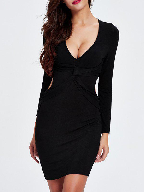 Charming Plunging Neck Cut Out Skinny Slimming Women's Dress - 2XL BLACK