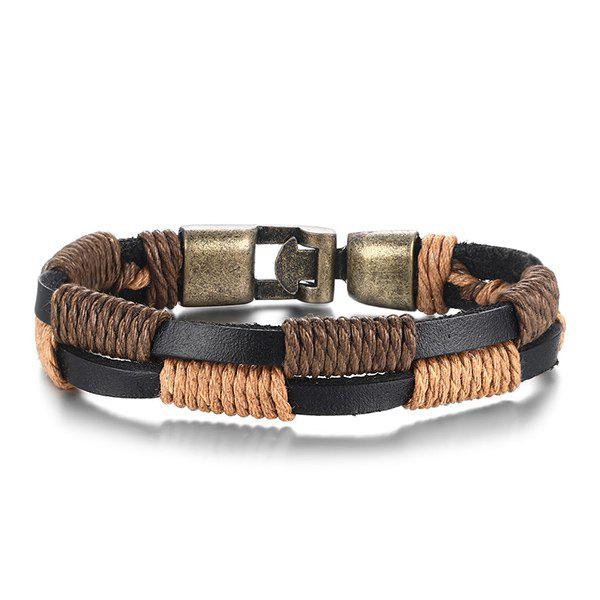 Simple Faux Leather Hemp String Wrap Layered Bracelet For Men - DEEP BROWN