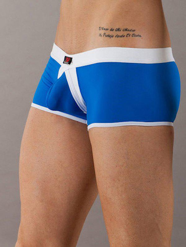 Elastic Waist Color Block U Pouch Boxers For Men
