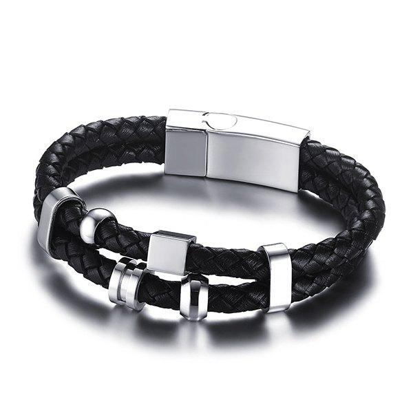 Rock Style Geometric Woven Faux Leather Layered Black Charm Bracelet For Men - BLACK