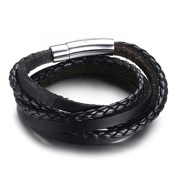 Simple Black Magnetic Snap Layered Faux Leather Bracelet For Men - BLACK