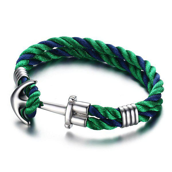 Stylish Double Colored Twist Layered Anchor Bracelet For Men - GREEN