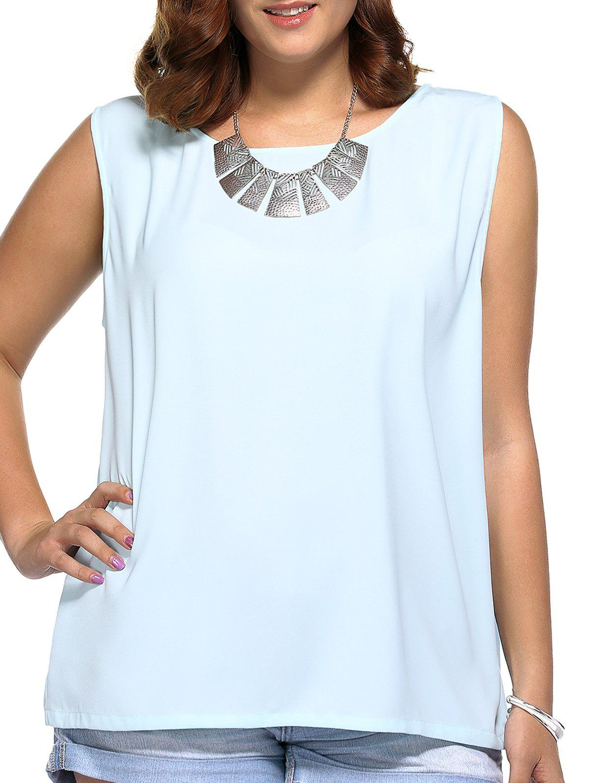 Oversized Cute Tie Back Cut Out Blouse - LIGHT BLUE 2XL