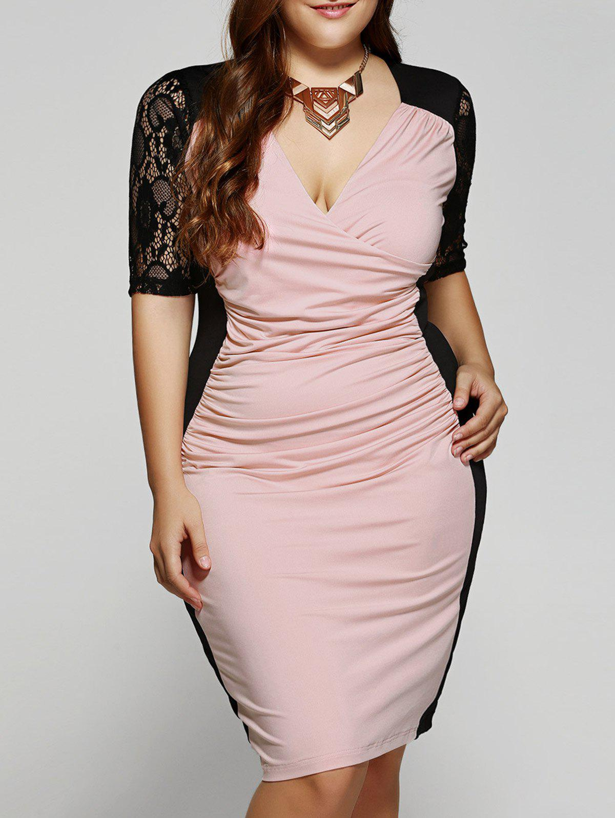 Plus Size 1/2 Sleeves V-Neck Splice Lace Dress - PINK XL