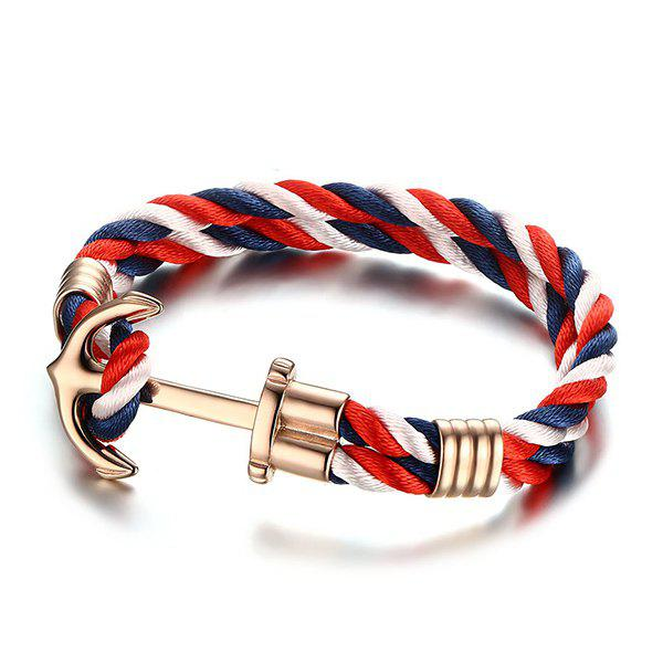 Stylish Multicolored Twist Strap Gold Plated Anchor Bracelet For Men