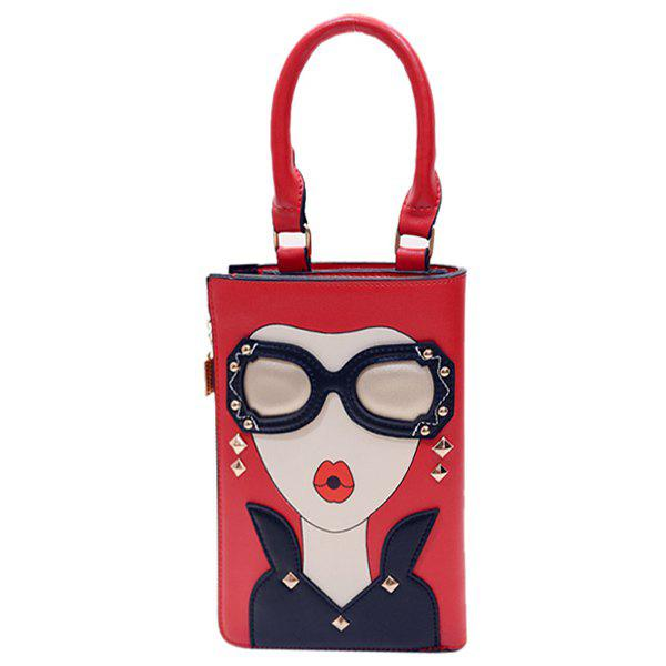 Chic Metal and Girl Pattern Design Women's Clutch Bag - RED
