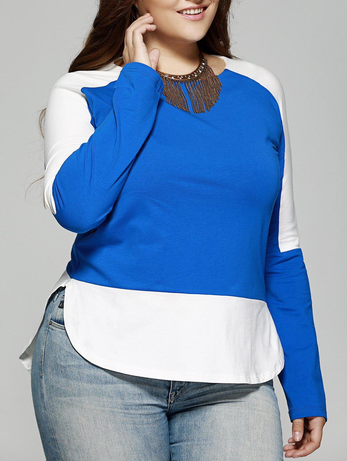Plus Size Long Sleeves Color Block Splice T-Shirt