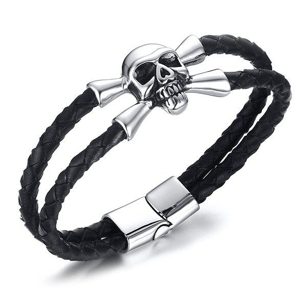 Hipster Faux Leather Cut Out Layered Skull Alloy Bracelet For Men - BLACK