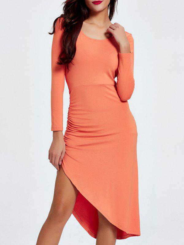 Alluring Scoop Neck Ruched Asymmetrical Backless Women's Dress - ORANGEPINK 2XL