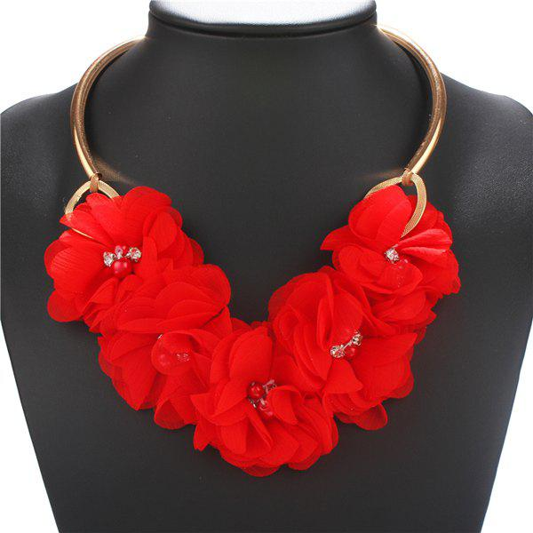 Elegant Rhinestone Cloth Flower Necklace For Women - RED