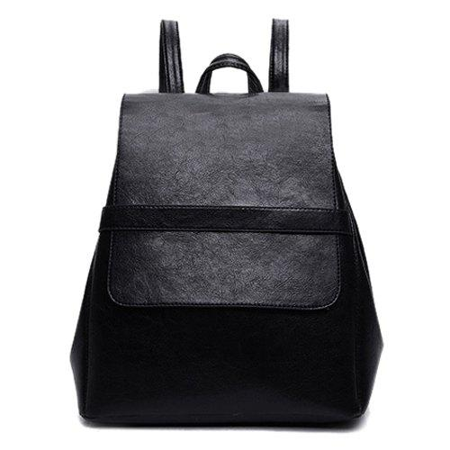 Fashion Solid Color and PU Leather Design Women's Backpack - BLACK