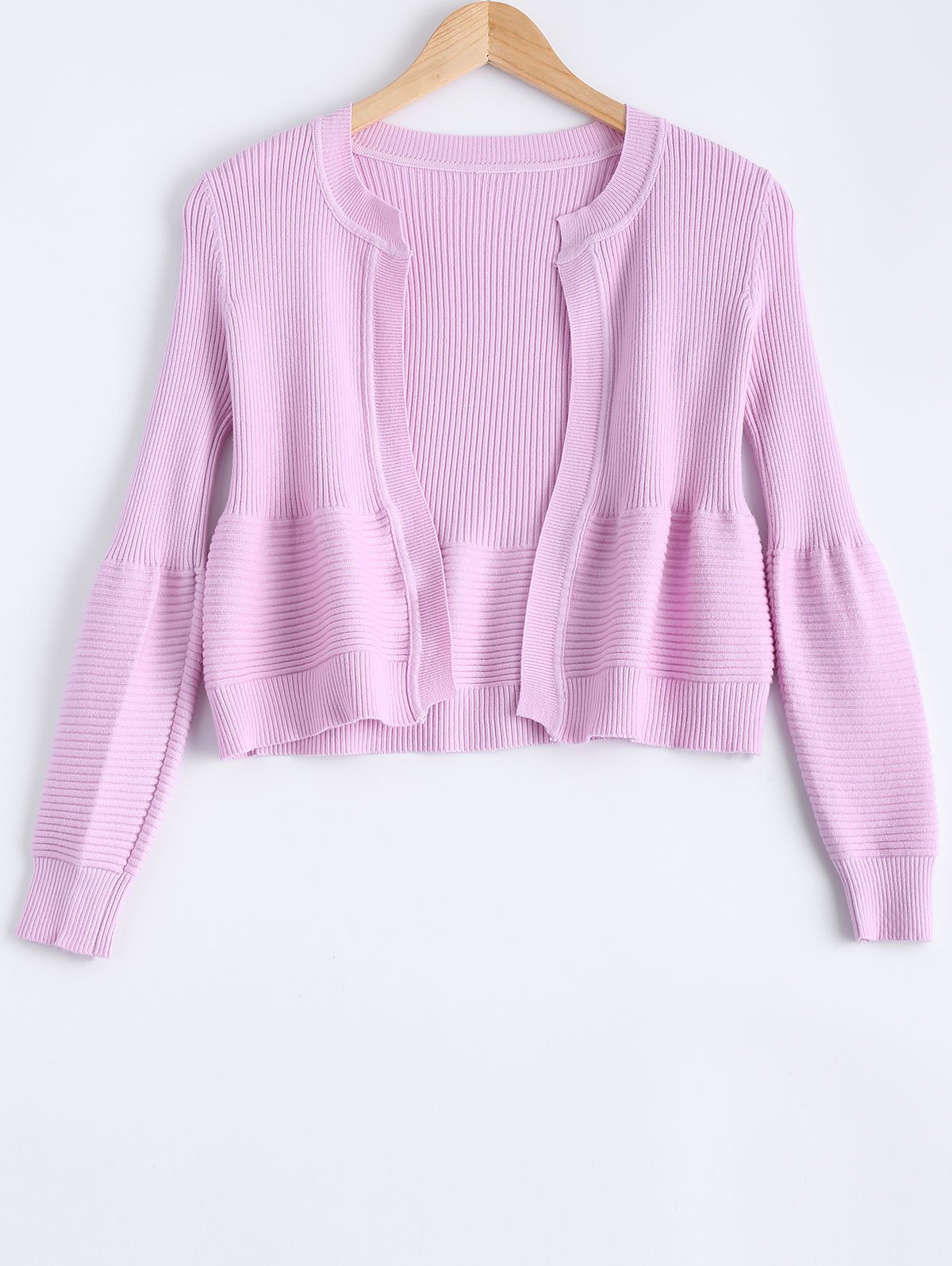 2017 Cute Puff Sleeve Ribbed Cardigan For Women LIGHT PURPLE ONE ...