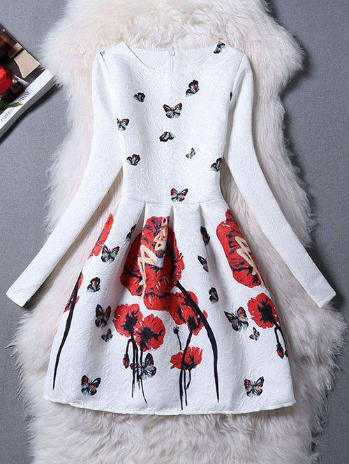 Charming Butterfly Pattern Zippered DressWomen<br><br><br>Size: S<br>Color: RED