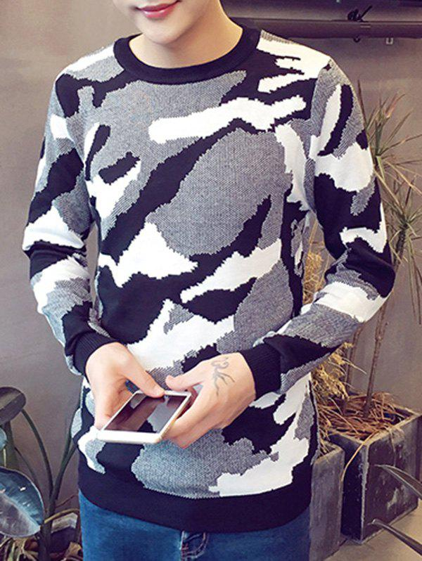 Camo Pattern Round Neck Long Sleeve Men's Sweater
