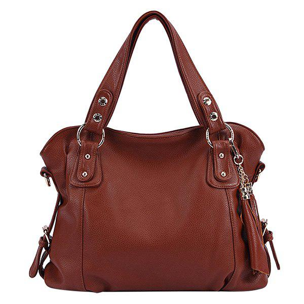 Trendy Solid Color and Tassels Design Women's Tote Bag - BROWN
