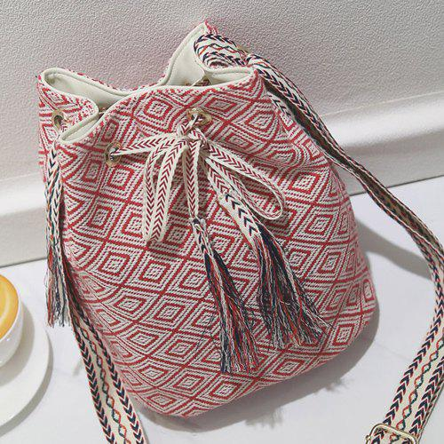 Leisure Tassels and Geometric Pattern Design Women's Shoulder Bag - RED
