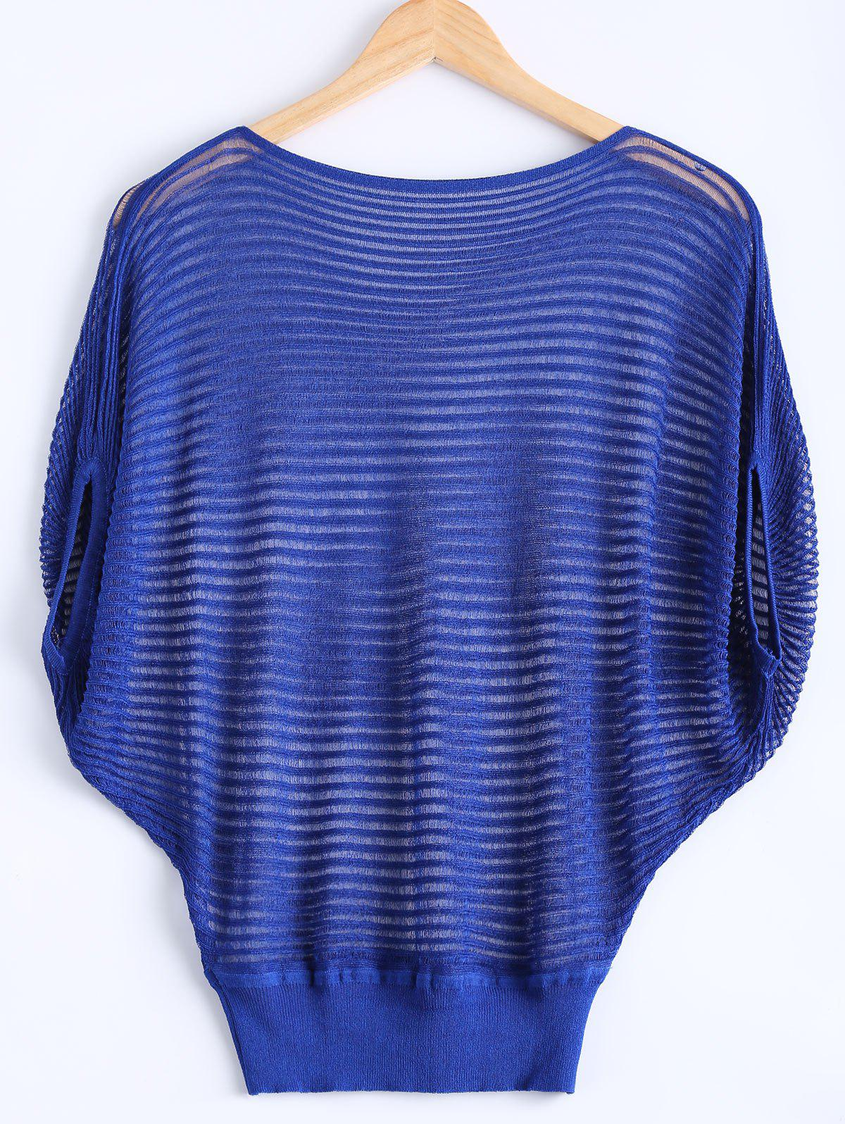 Stylish Cap Sleeve Striped Kniwear For Women - BLUE ONE SIZE