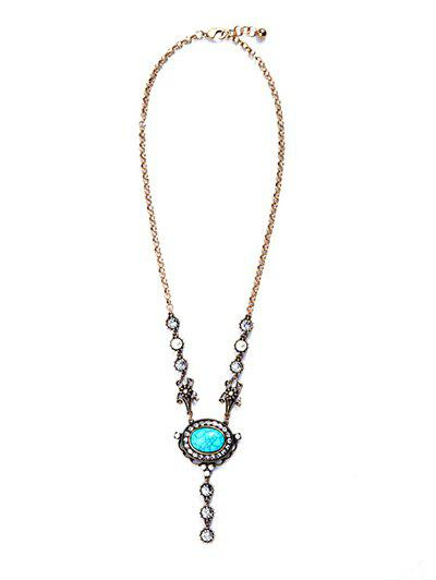 Oval Faux Turquoise Pendant Necklace - GOLDEN