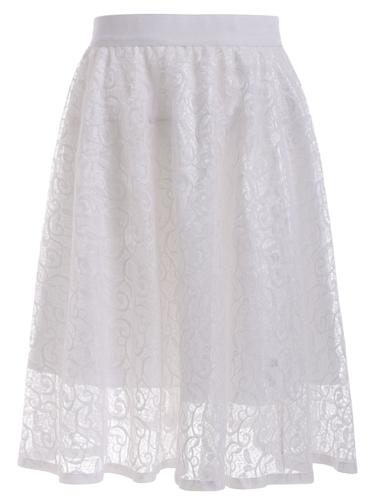 Vintage Pure Color See-Through Lace A Line Skirt
