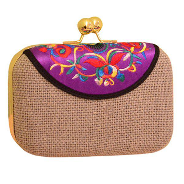 Ethnic Embroidery and Chain Design Women's Evening Bag - GRAY