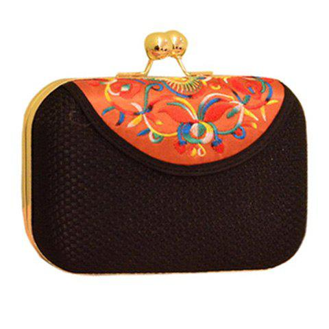 Ethnic Embroidery and Chain Design Women's Evening Bag - BLACK