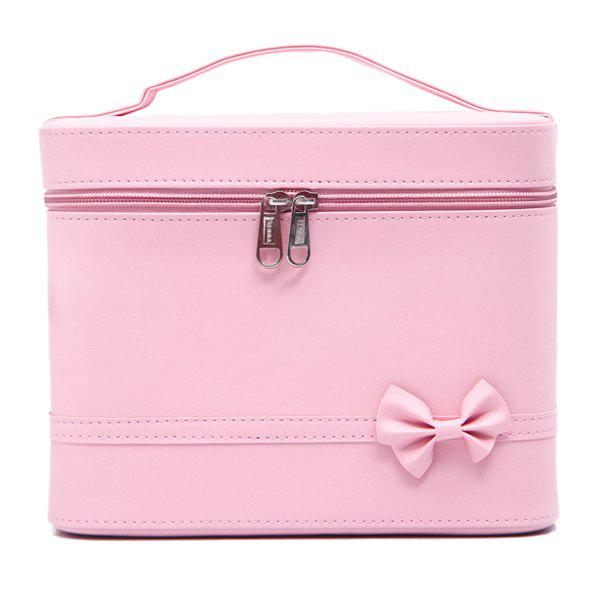 Trendy Pink and Bow Design Women's Cosmetic Bag - PINK