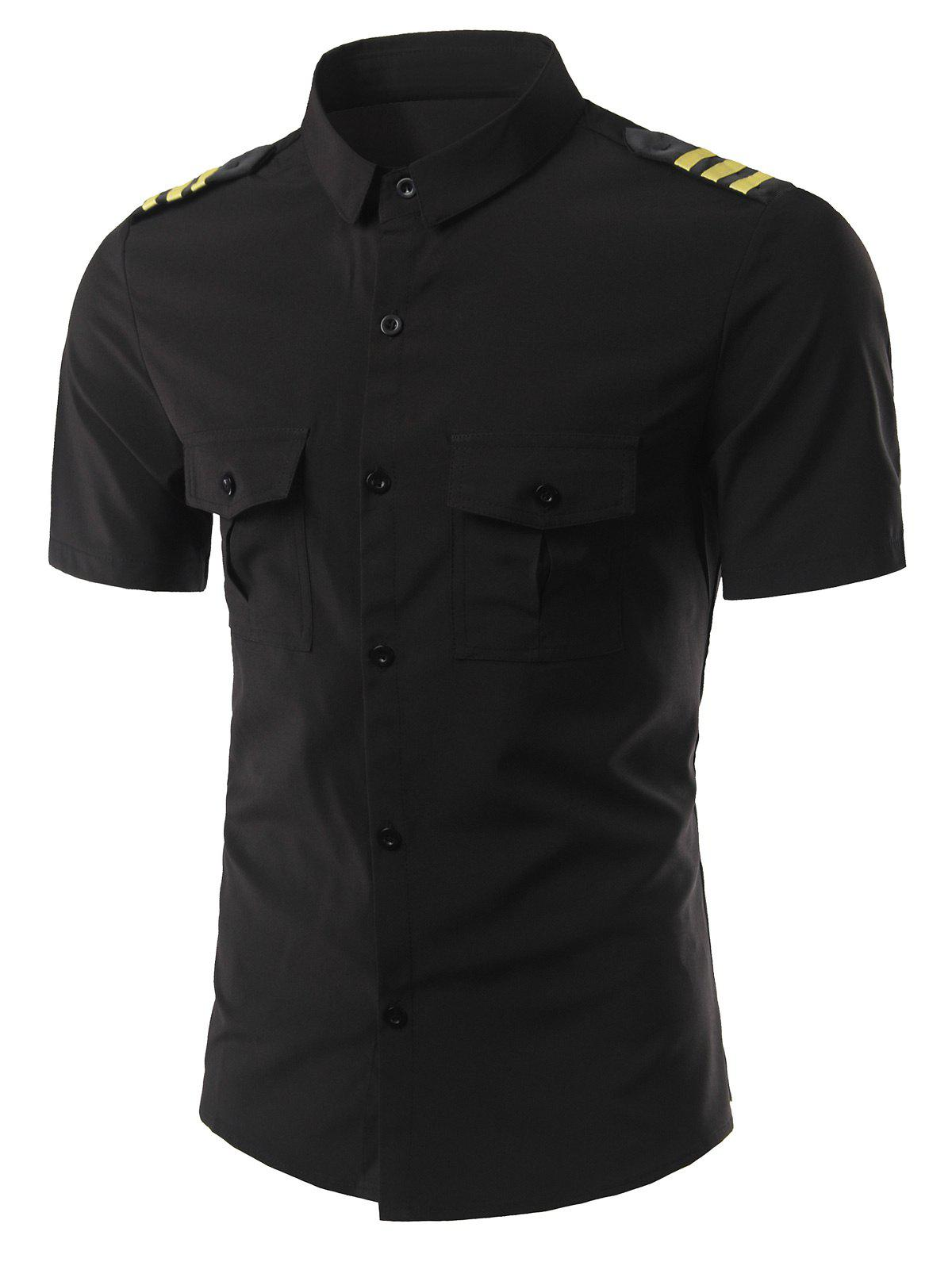 Stripe Epaulet Design Turn-Down Collar Short Sleeve Men's Shirt