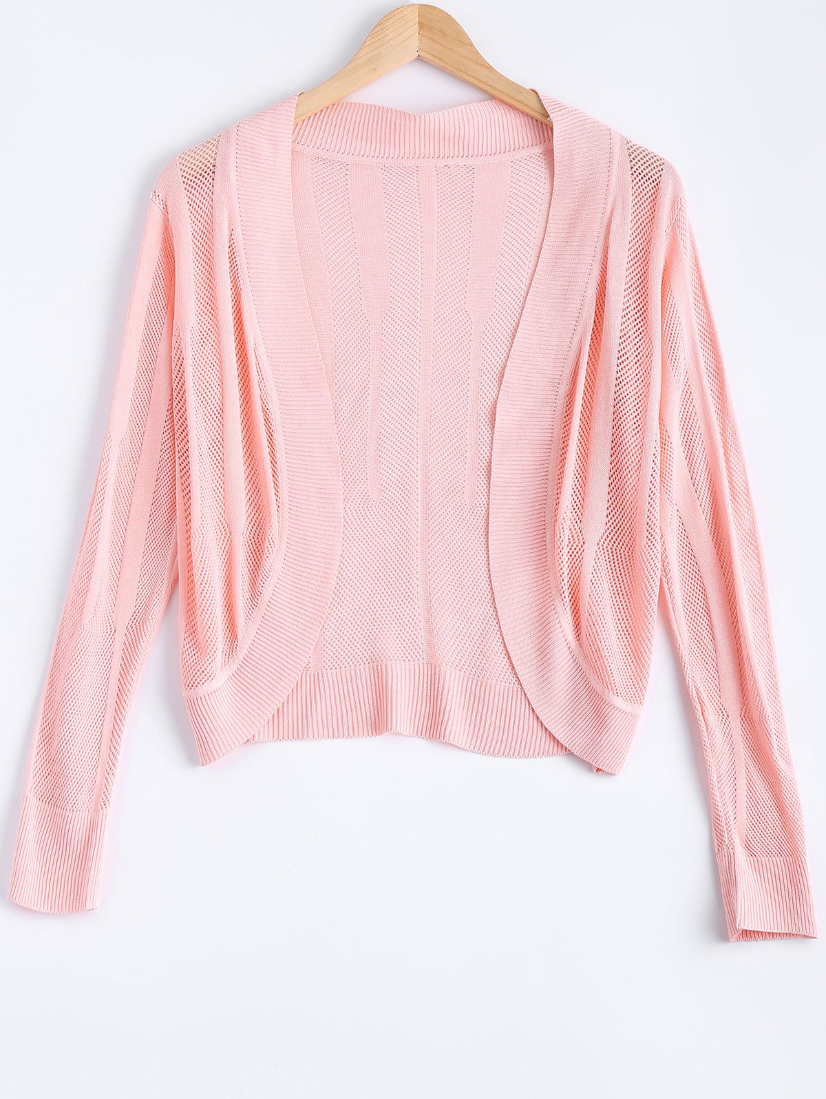Brief Pure Color Textured Knitted Cardigan For WomenWomen<br><br><br>Size: ONE SIZE<br>Color: LIGHT PINK