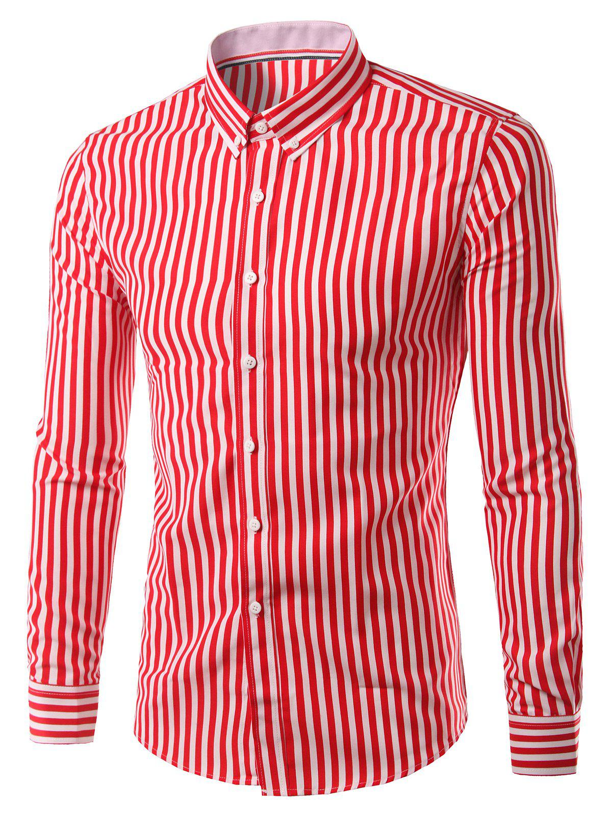 Turn-Down Collar Plus Size Vertical Stripe Long Sleeve Button-Down Men's Shirt - RED 5XL