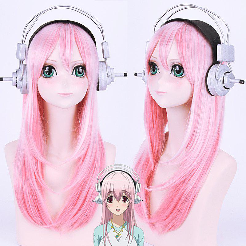 Fashion Synthetic Long Straight Layered Tail Adduction SuperSonico Pink Ombre Hatsune Miku Cosplay Wig - COLORMIX