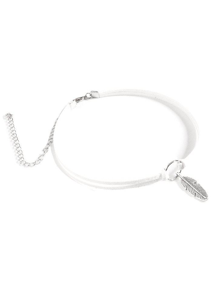 Feather Choker Velvet Necklace - WHITE