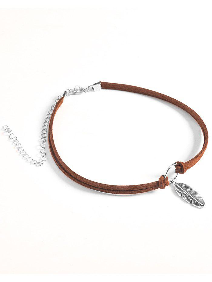 Feather Choker Velvet Necklace - BROWN