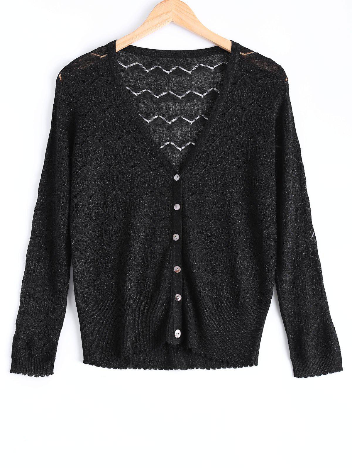 Casual Zig Zag Textured Knitted Cardigan For Women - BLACK ONE SIZE