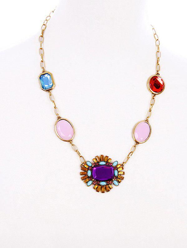 Artificial Gemstone Geometric Necklace