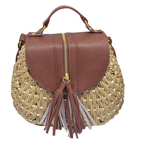 Stylish Tassels and Straw Design Women's Crossbody Bag - BROWN