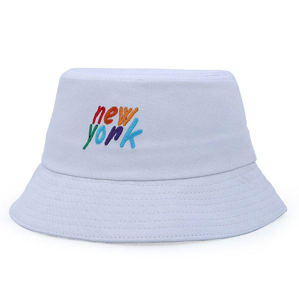 Stylish Colorful Letter Embroidery Flat Top Bucket Hat - WHITE