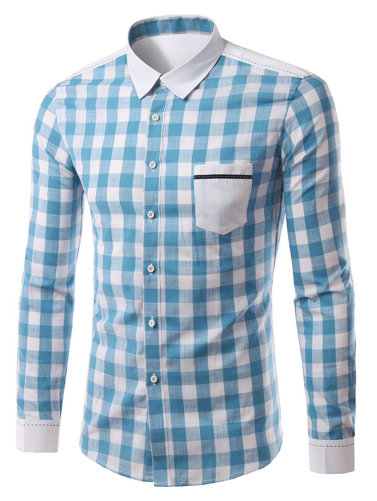 Pocket Splicing Turn-Down Collar Plaid Pattern Long Sleeve Men's Shirt - LIGHT BLUE 4XL