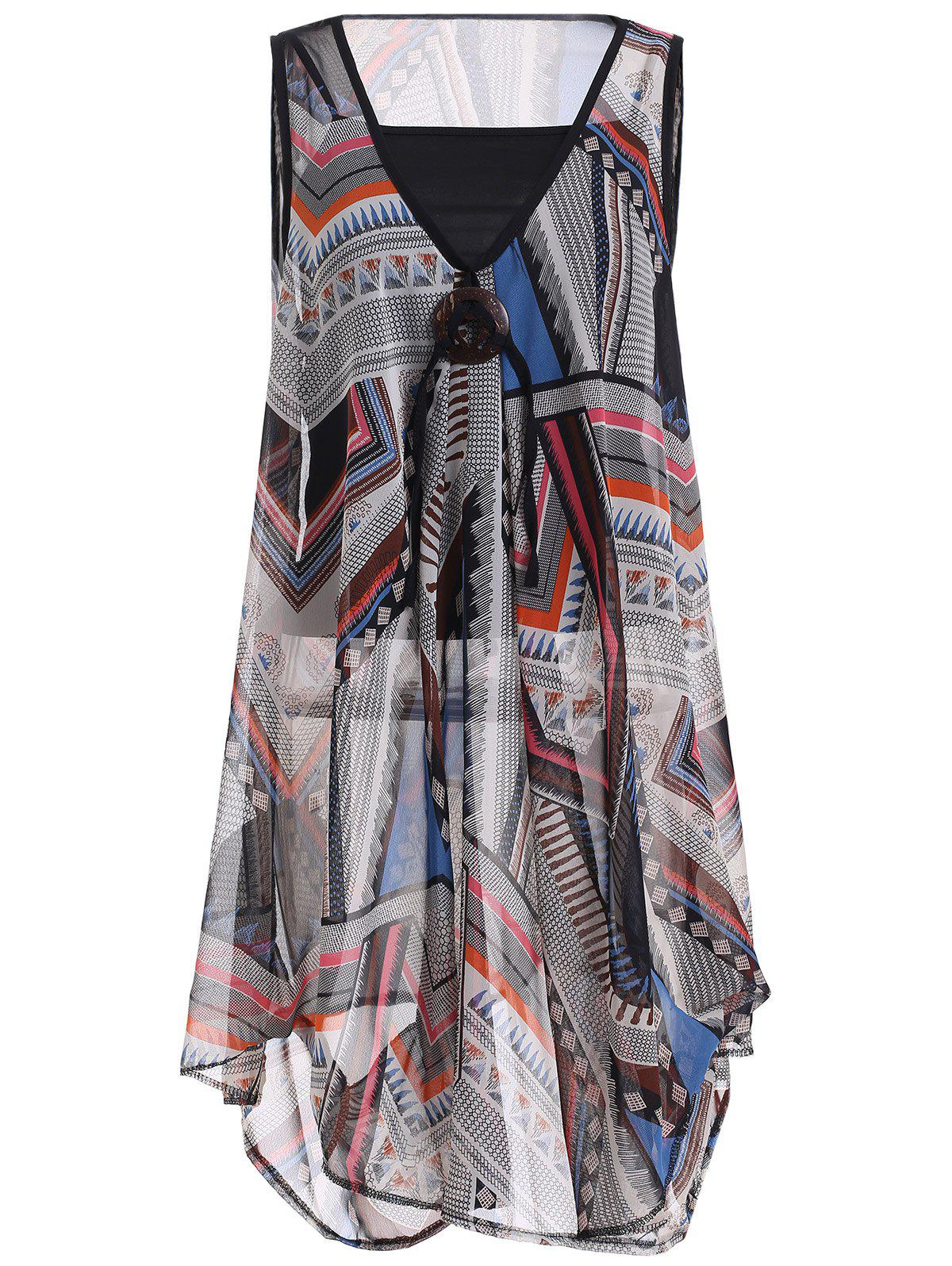 Pure Color Tank Top and Print Chiffon Dress Twinset
