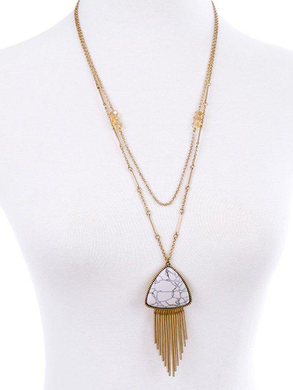 Triangle Fringle Layered Necklace - PLATINUM