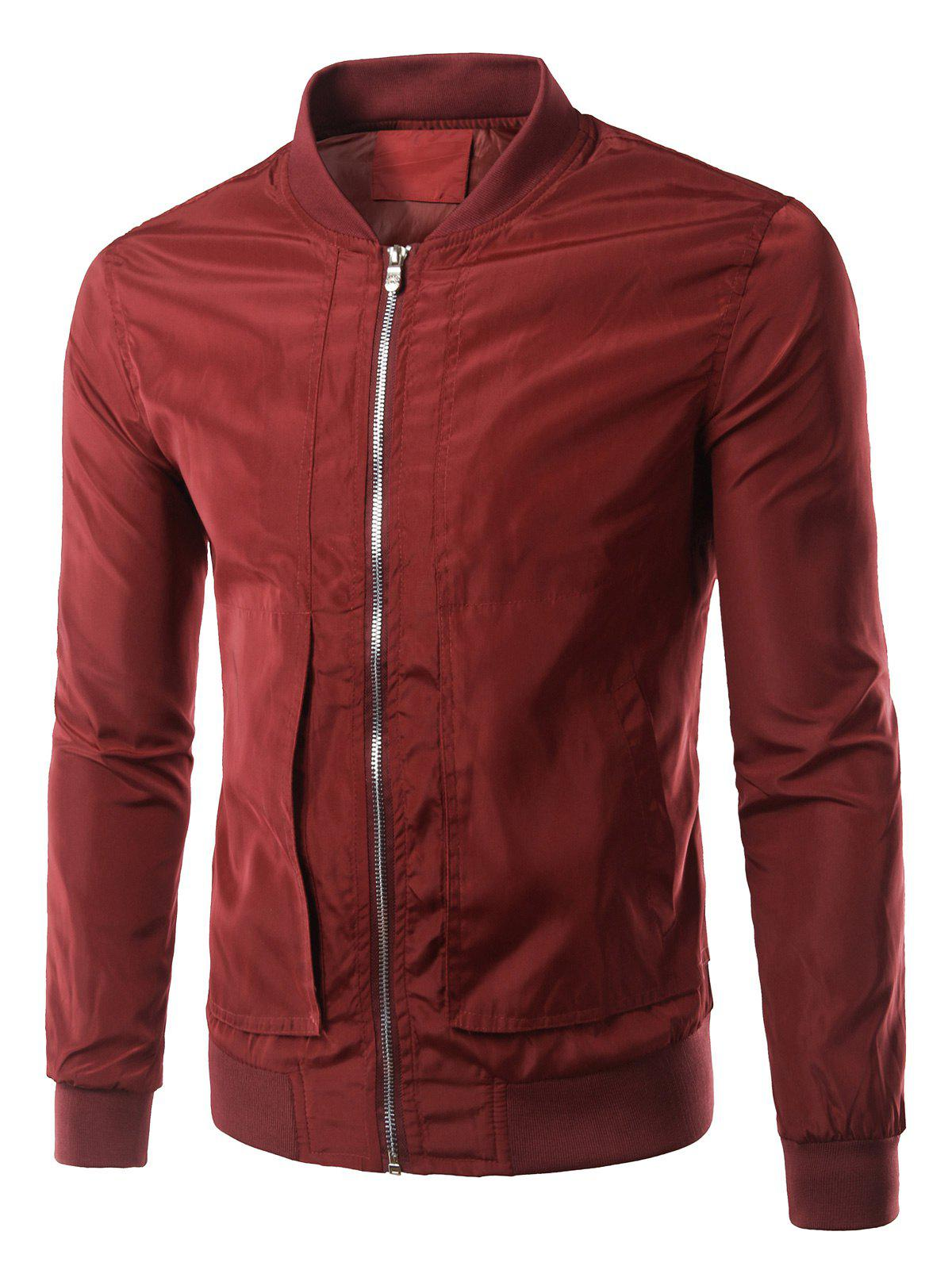 Patch Pocket Design Bomber Jacket - WINE RED 4XL