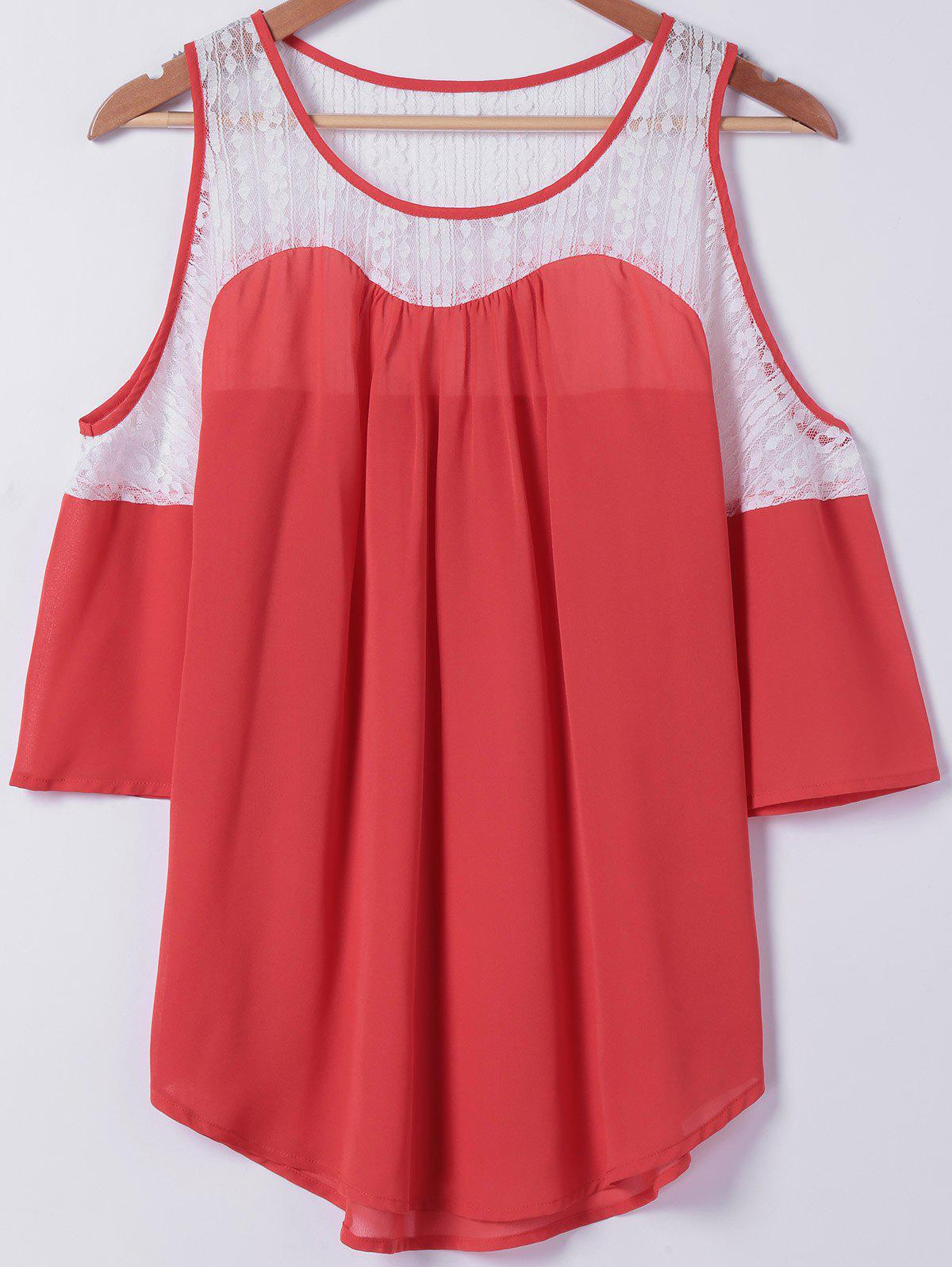 Lace Splicing Cold Shoulder Blouse - RED/WHITE M