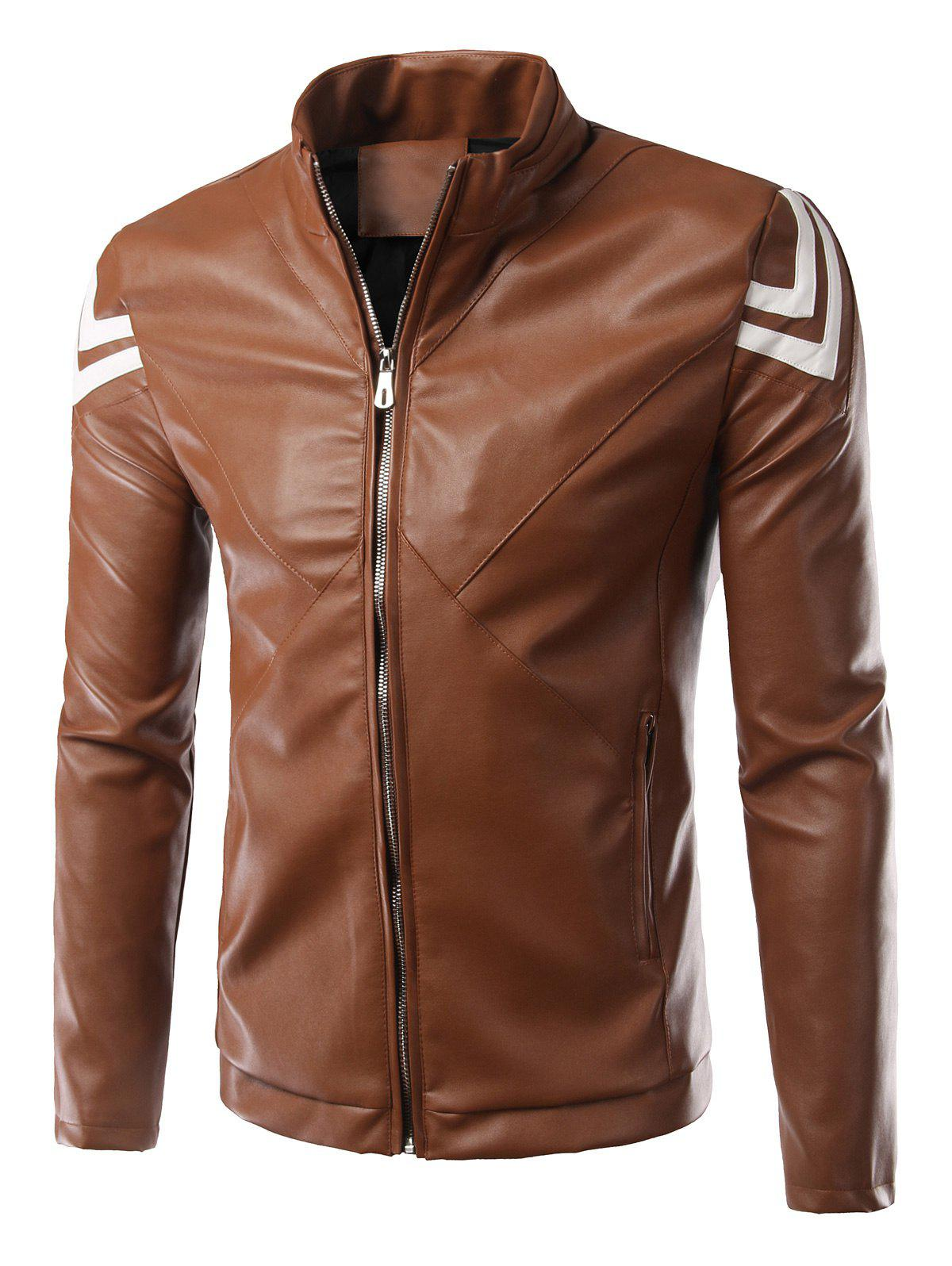 Selvedge Embellished Plus Size Stand Collar Long Sleeve PU-Leather Men's Jacket - COFFEE 5XL