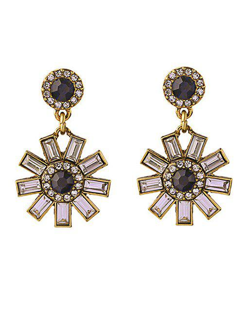 Cut Out Flower Rhinestone Earrings - GOLDEN